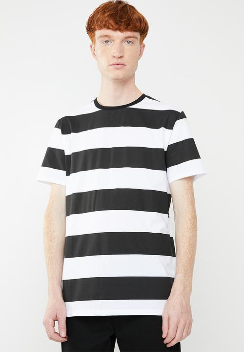 999c5f55 Wide stripe short sleeve crew neck tee - black/white Superbalist T ...
