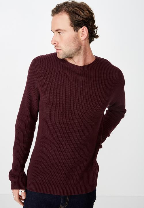 Box Crew Knit   Burgundy by Cotton On