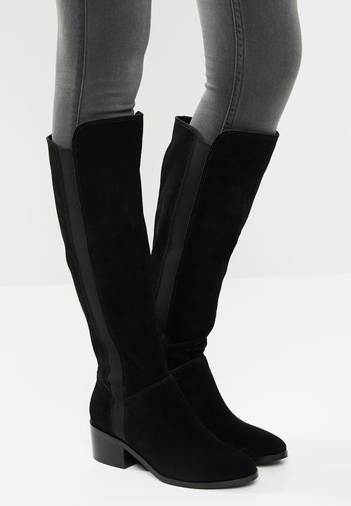 f4238a5da2b4 Gisele faux suede knee length block heel boot - black Steve Madden ...