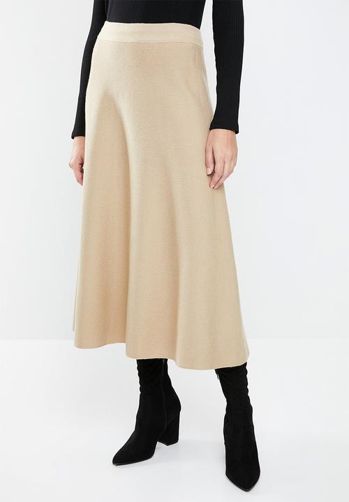 a3fd87e287 Knitted flared midi skirt - beige MANGO Skirts | Superbalist.com