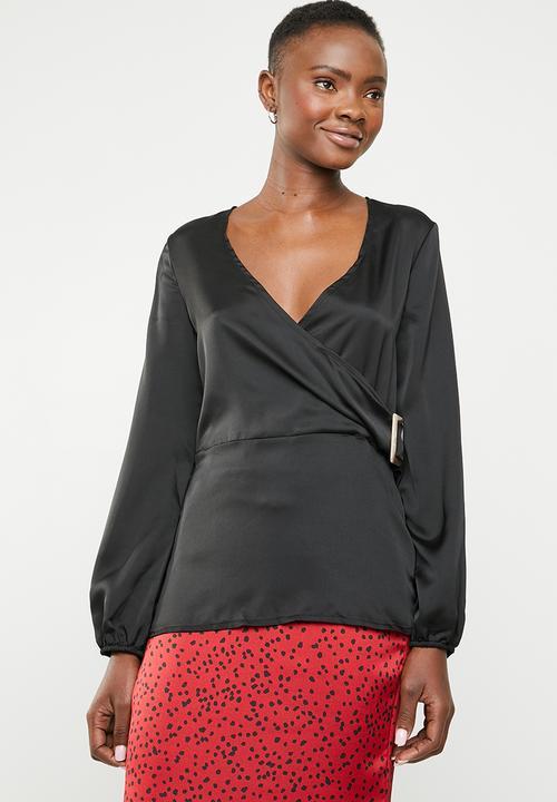48d0c2f86ec Long sleeve wrap side satin blouse - black Missguided Blouses ...