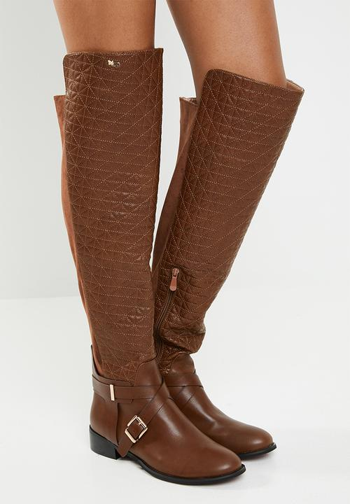 7c77f45113fa6 Quilted faux leather buckle detail over the knee flat boot - brown ...