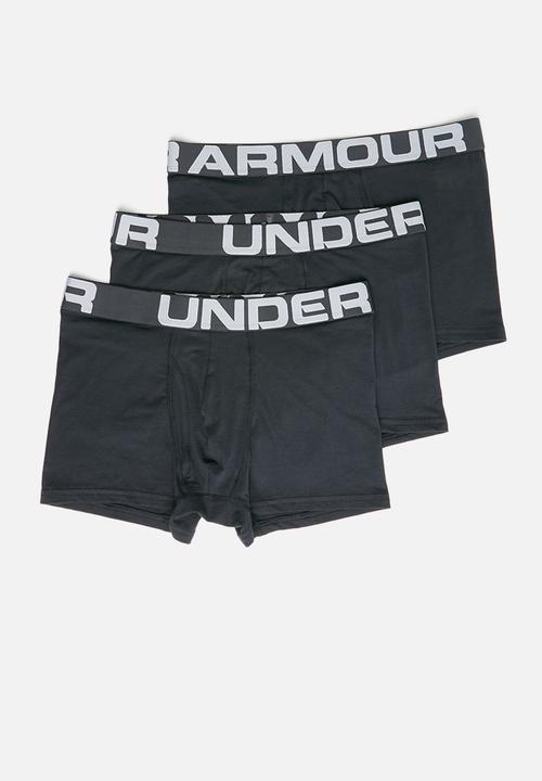 Están deprimidos Fanático entusiasta  Charged cotton 3inch 3 pack boxer briefs- black/black Under Armour Underwear    Superbalist.com
