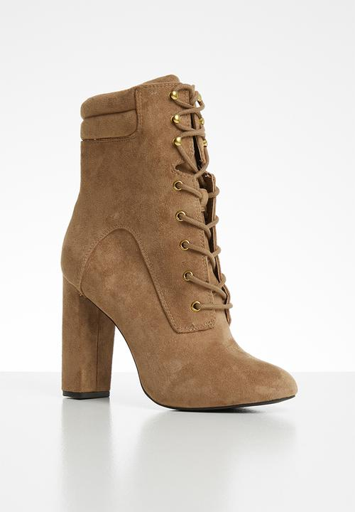 4e15b93916949 Oladonna faux suede lace-up block heel mid-calf boot - cognac Call ...