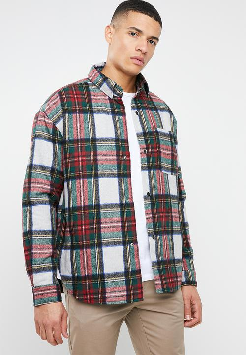 Ecru Check Padded Overshirt   Multi by Mennace