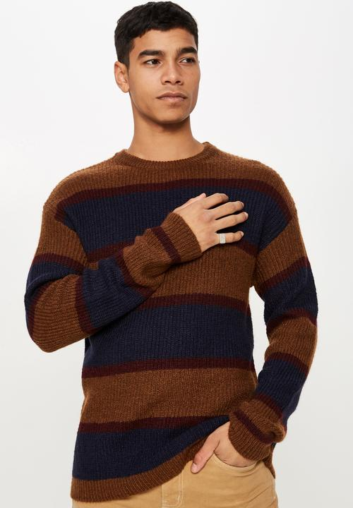 Box Crew Neck Knit   Navy & Brown by Cotton On