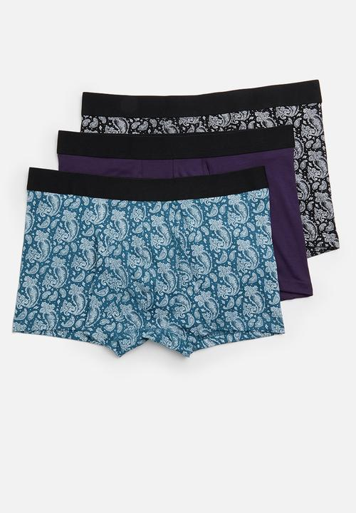 7d3bb57f44 Multi colour paisley 3 pack trunks - multi New Look Underwear ...