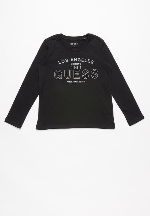 812e3f2197 Long sleeve guess los angeles tee - jet black GUESS Tops ...