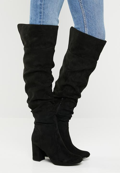 0ade1a701e2c9 Kadin faux suede ruched block heel over the knee boot - black ...