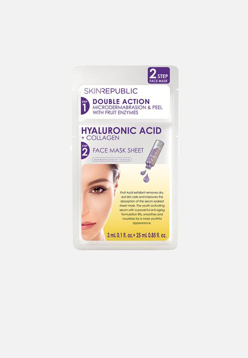 2 Step Hyaluronic Acid + Collagen Face Mask by Skin Republic