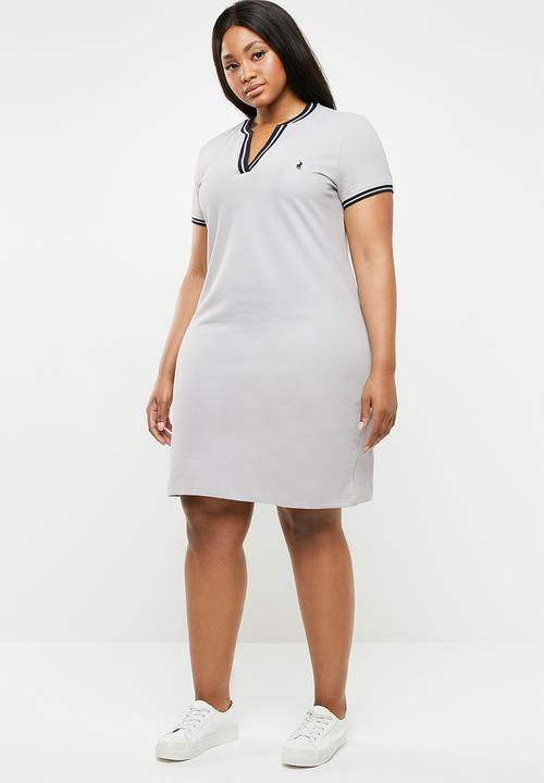 Plus size tessa v neck golfer dress - light grey POLO Dresses ...