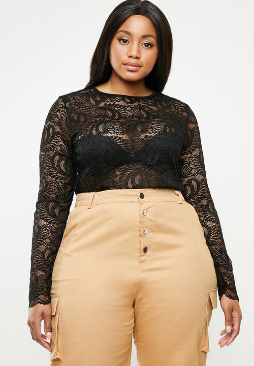 5114af5aa1 Curve lace long sleeve bodysuit - black Missguided Tops ...