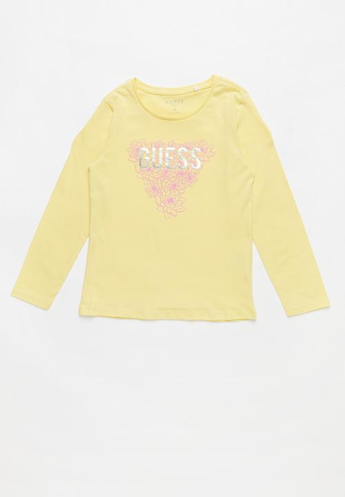 d0978bd9dee8 Long sleeve leaf tri tee - city yellow GUESS Tops | Superbalist.com