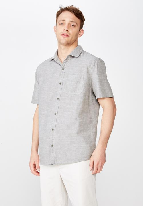 Premium Short Sleeve Shirt   Grey by Cotton On