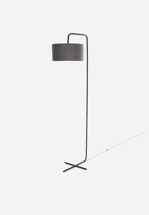 Xo Standing Lamp Black W Grey Shade