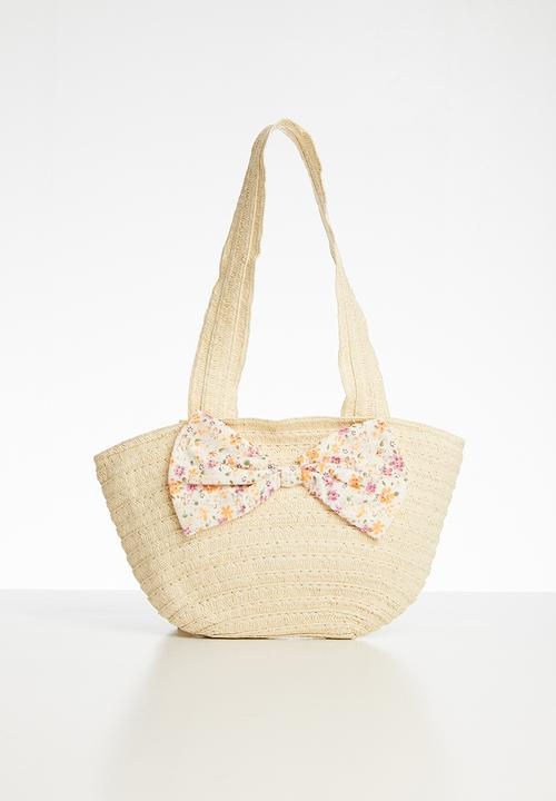 Straw Tote Bag With Bow Detail Beige