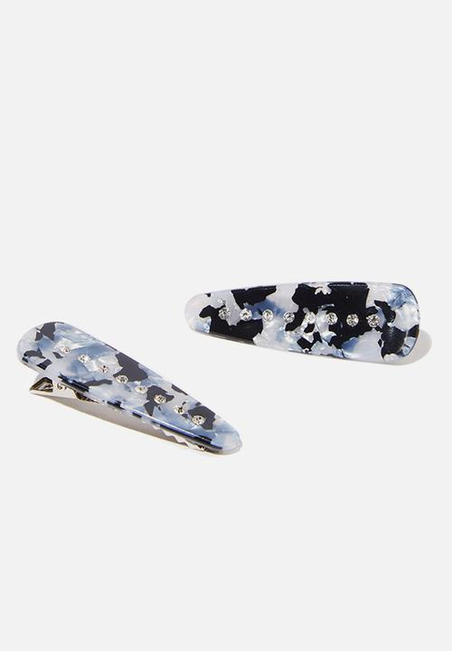 Chania Embellished Resin   Black & White by Cotton On