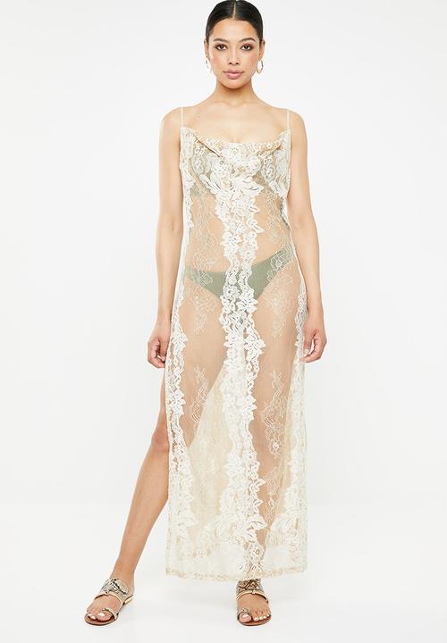 quality design check out official shop Premium lace cowl neck maxi beach dress - neutral Missguided ...