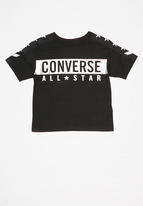 Converse girls All Star knit top black
