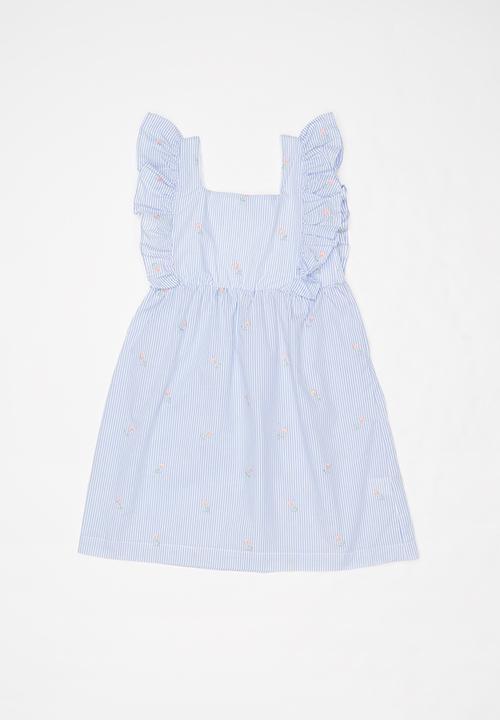Frill Sleeve Dress Blue White Pop