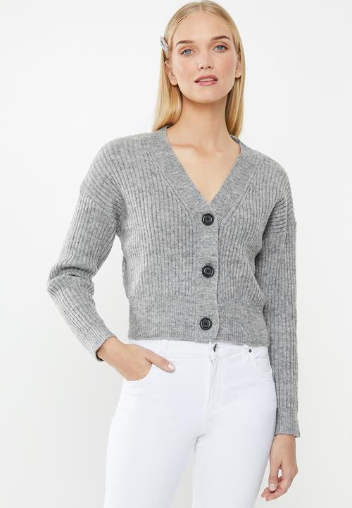 Luxe Cropped Cardigan   Grey by Cotton On