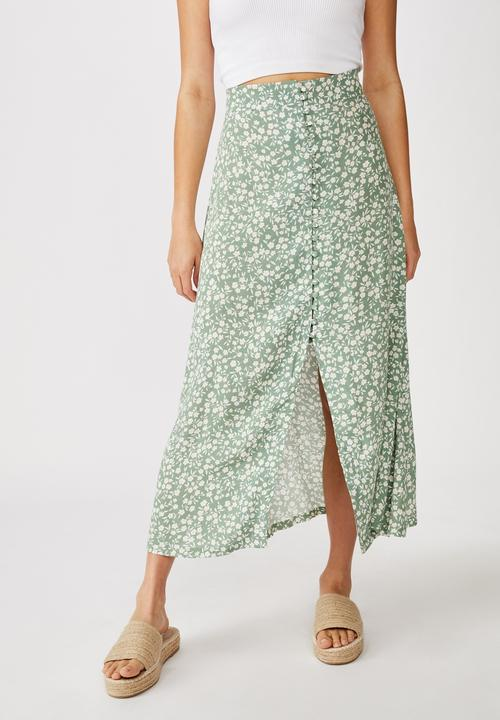 Summer Button Midi Skirt   Green by Cotton On