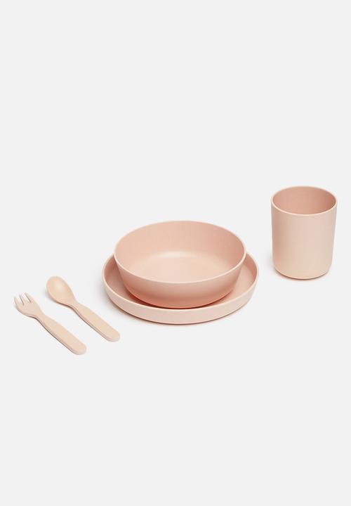 Modern Easy  - Kids bamboo dinner set - blush