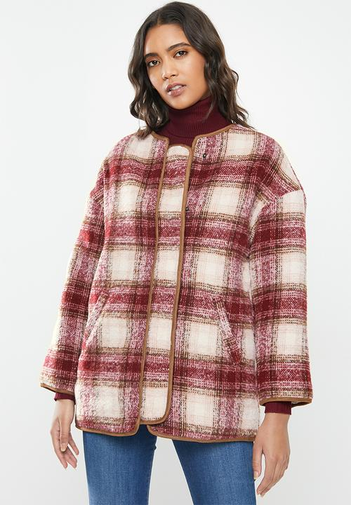 Winter Jacket Red Check Cotton On, Red Check Winter Coat
