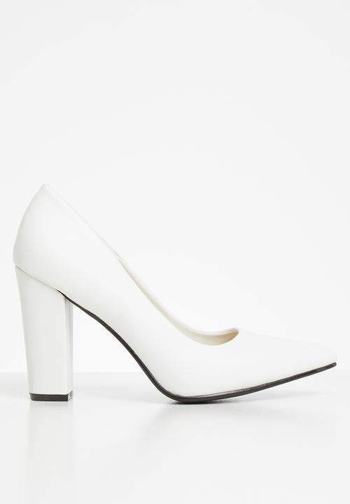 Samantha court block heel - white
