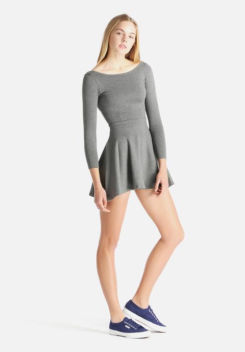 e62f6facf304 Ponte Long Sleeve Skater Dress - Dark heather Grey American Apparel ...