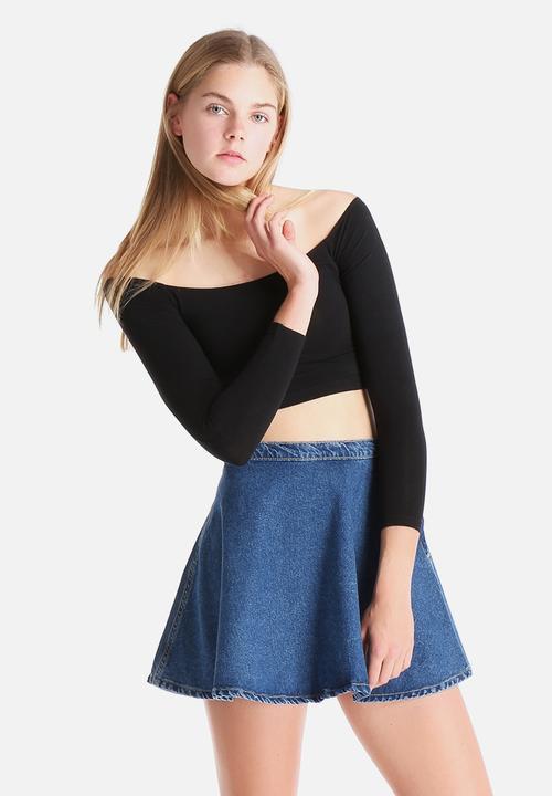 06c06402716 Cotton Spandex Long Sleeve Off-Shoulder Top - Black American Apparel ...
