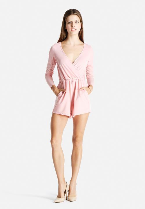 c9deb4162a Wrap Front Playsuit - Light Pink Glamorous Jumpsuits   Playsuits ...