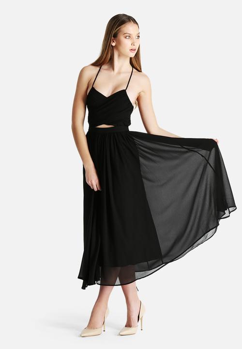 3bf61eaa9e471 Wrap Lace Up Floaty Midi Dress - Black Lavish Alice Casual ...