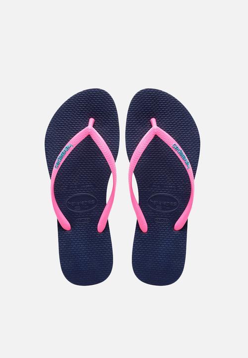 4a26b1827 Slim logo pop-up - blue pink Havaianas Sandals   Flip Flops ...