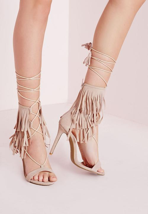 a4e8c7fd7b F3600982 (Fringe Strap Barely There Heeled Sandals) - NUDE ...