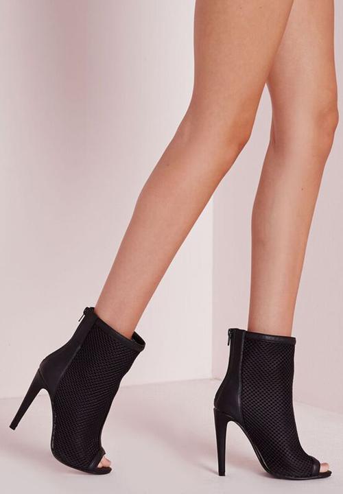 331deb1210c6 F2600273 (Mid Calf Mesh Peep Toe Ankle Boots) - BLACK Missguided ...