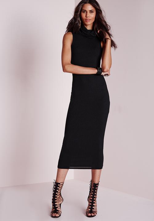 9f392491386 Ribbed Sleeveless Roll Neck Midi Dress - Black Missguided Formal ...
