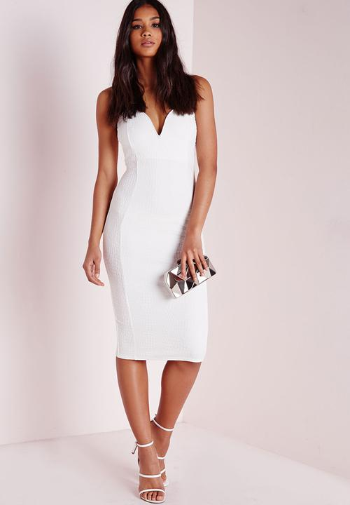 d62ace757fb7 Croc Textured Plunge Midi Dress - White Missguided Formal ...