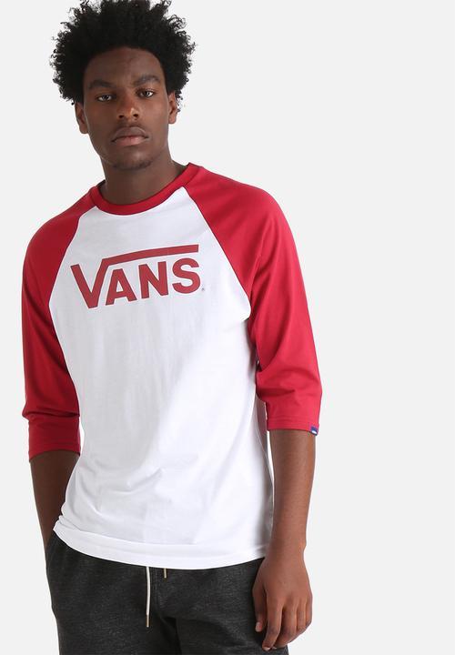 c2a74a8a Vans Classic Raglan - White / Cardinal Red Vans T-Shirts & Vests ...