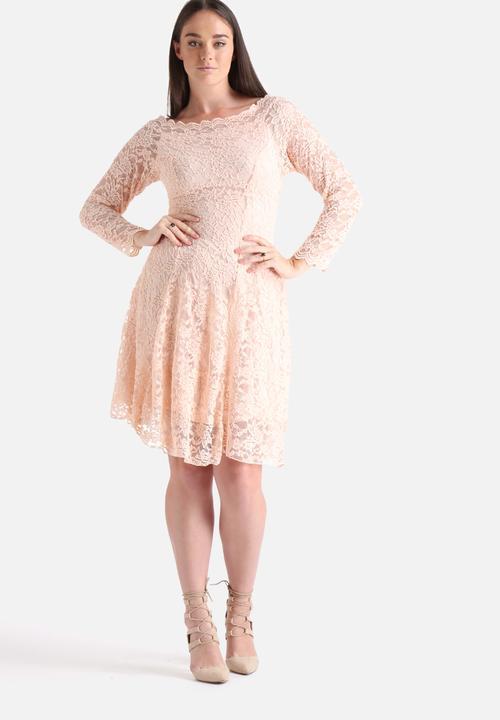 aca0092500e Plus Size Bardot Lace Dress - Nude   Pink Lili London Occasion ...