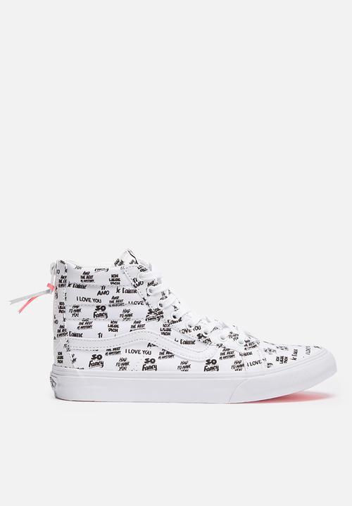 afc6e2d099 Vans SK8-Hi Slim Zip - Baron Von Fancy - White   Black Vans Sneakers ...