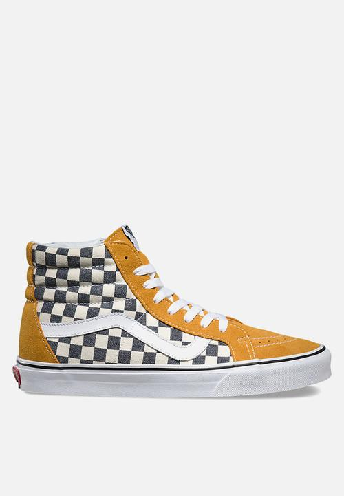 54ab695993 Vans Checkerboard SK8-Hi Reissue - Spruce Yellow   Navy Vans ...