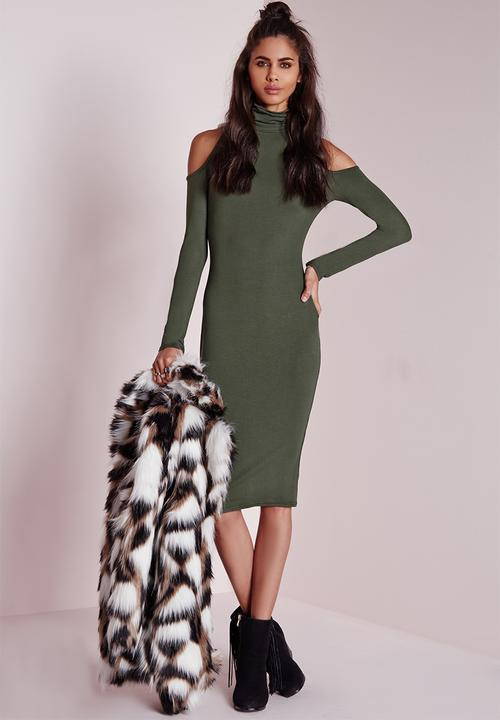 ae60721967f8 Jersey cold shoulder midi dress - khaki Missguided Casual ...