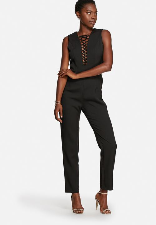 a06ce32505 Lace-Up Jumpsuit - Black Glamorous Jumpsuits   Playsuits ...