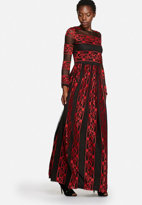 f222e9170c8 Embroidered Mesh Dress -Black Red Lace Glamorous Occasion ...