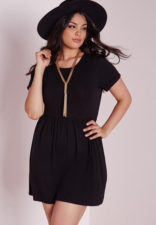 6c34078ac2f7 Plus size jersey T-shirt skater dress-black Missguided Casual ...