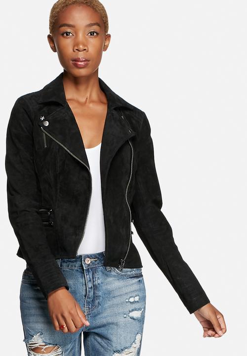 0e053ecb418 Justine Suede Biker Jacket - Black ONLY Jackets