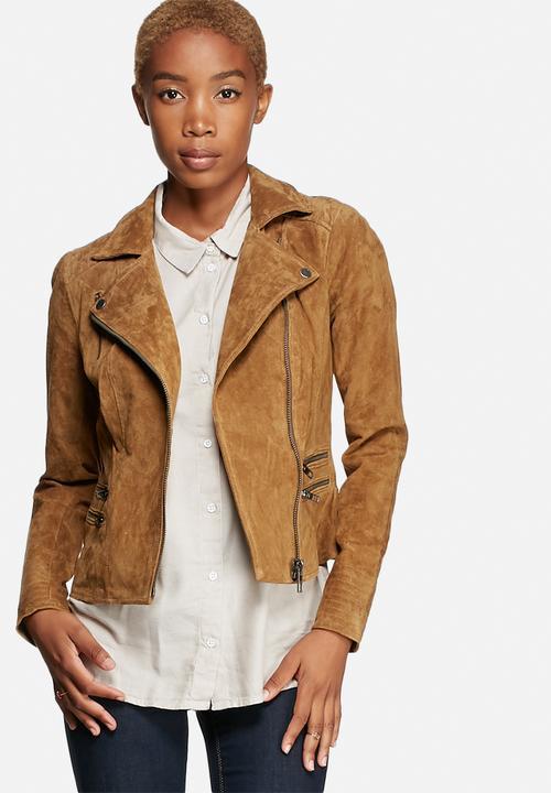 4e28f500651 Justine Suede Biker Jacket - Cognac ONLY Jackets