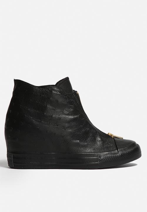 9ff21ce79b1d Converse CTAS Lux Shroud Leather Mid - Black Converse Sneakers ...
