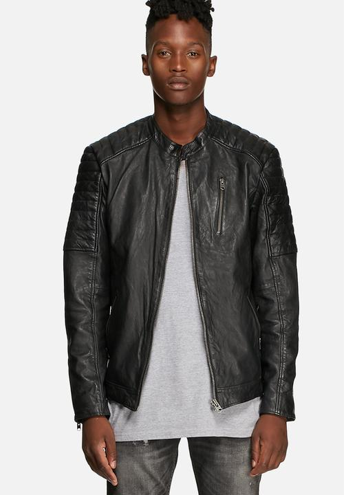 2b2562e7fa28e Richard Lamb Leather Jacket - Black Jack   Jones Jackets ...